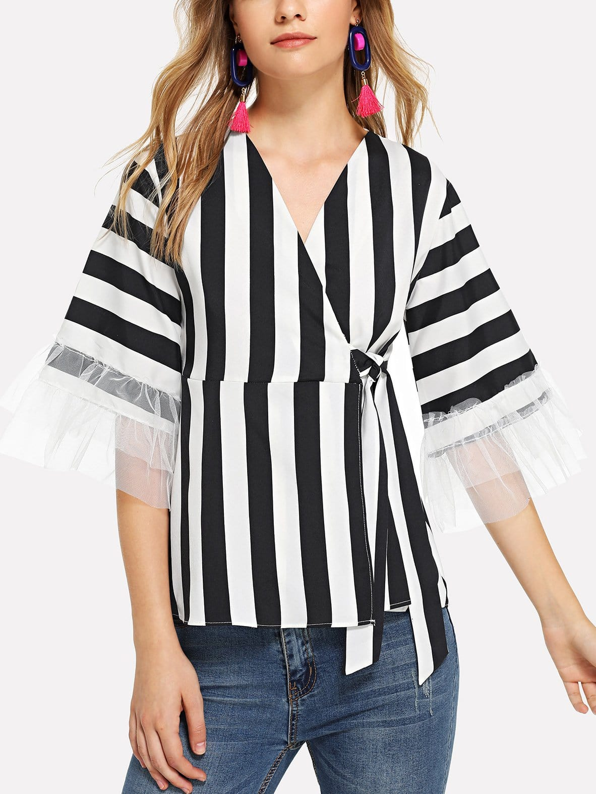 цена Sheer Mesh Panel Striped Blouse