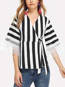 Sheer Mesh Panel Striped Blouse