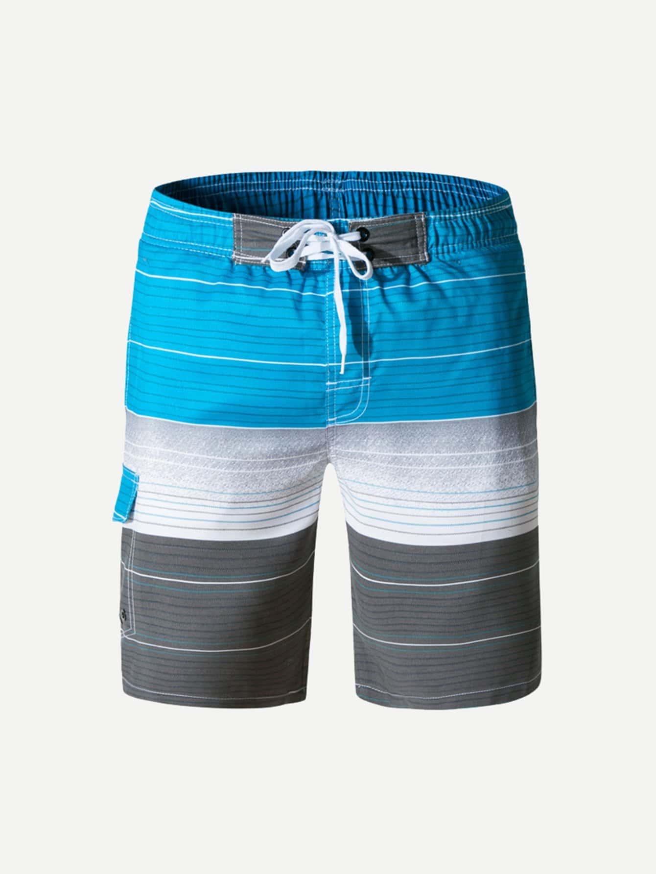 Men Drawstring Striped Beach Shorts men colorful striped drawstring shorts