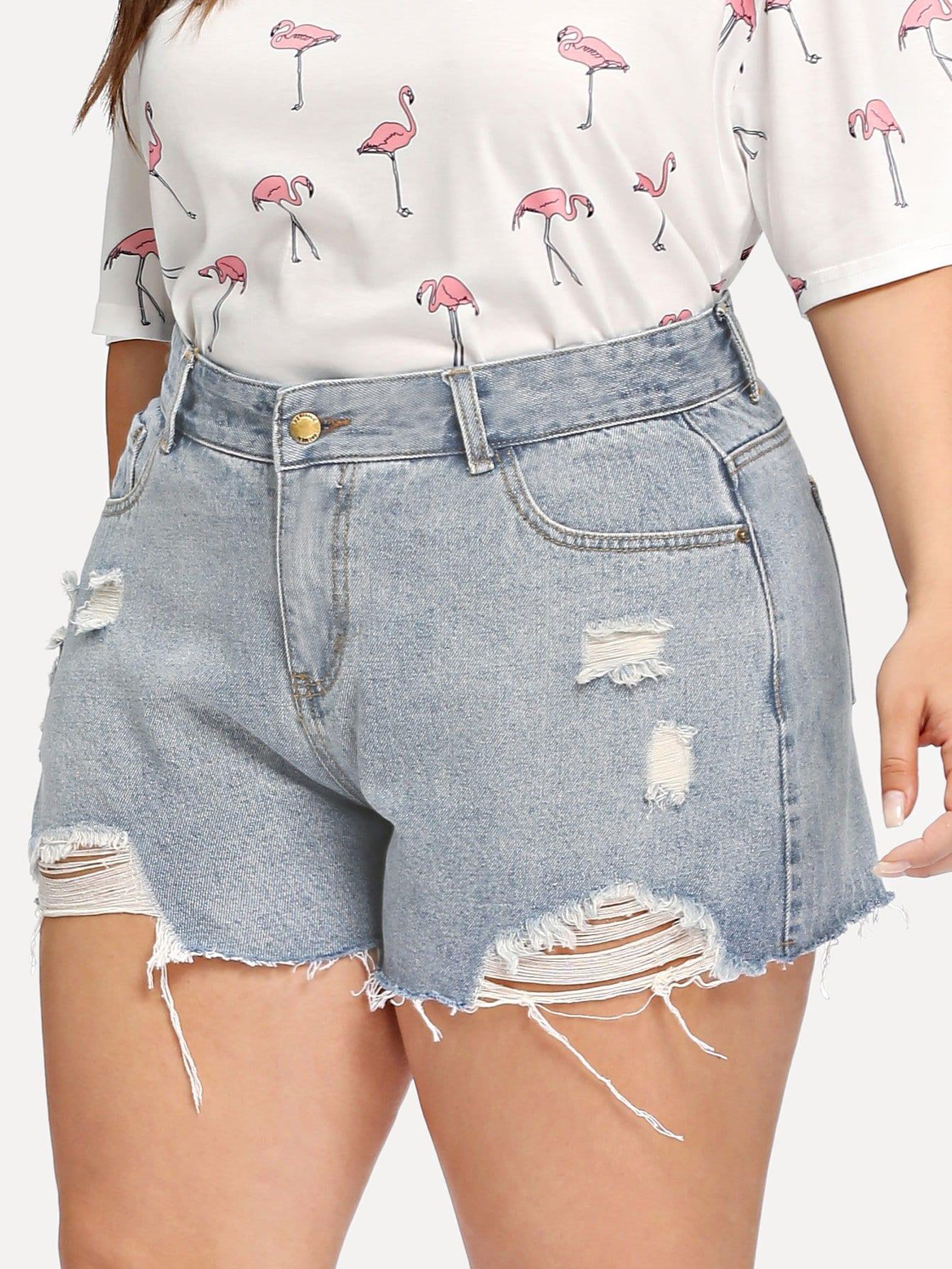 Plus Raw Hem Ripped Denim Shorts