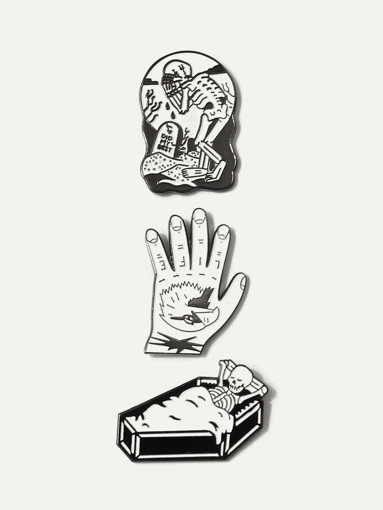 Hand & Skeleton Brooch Set 3pcs