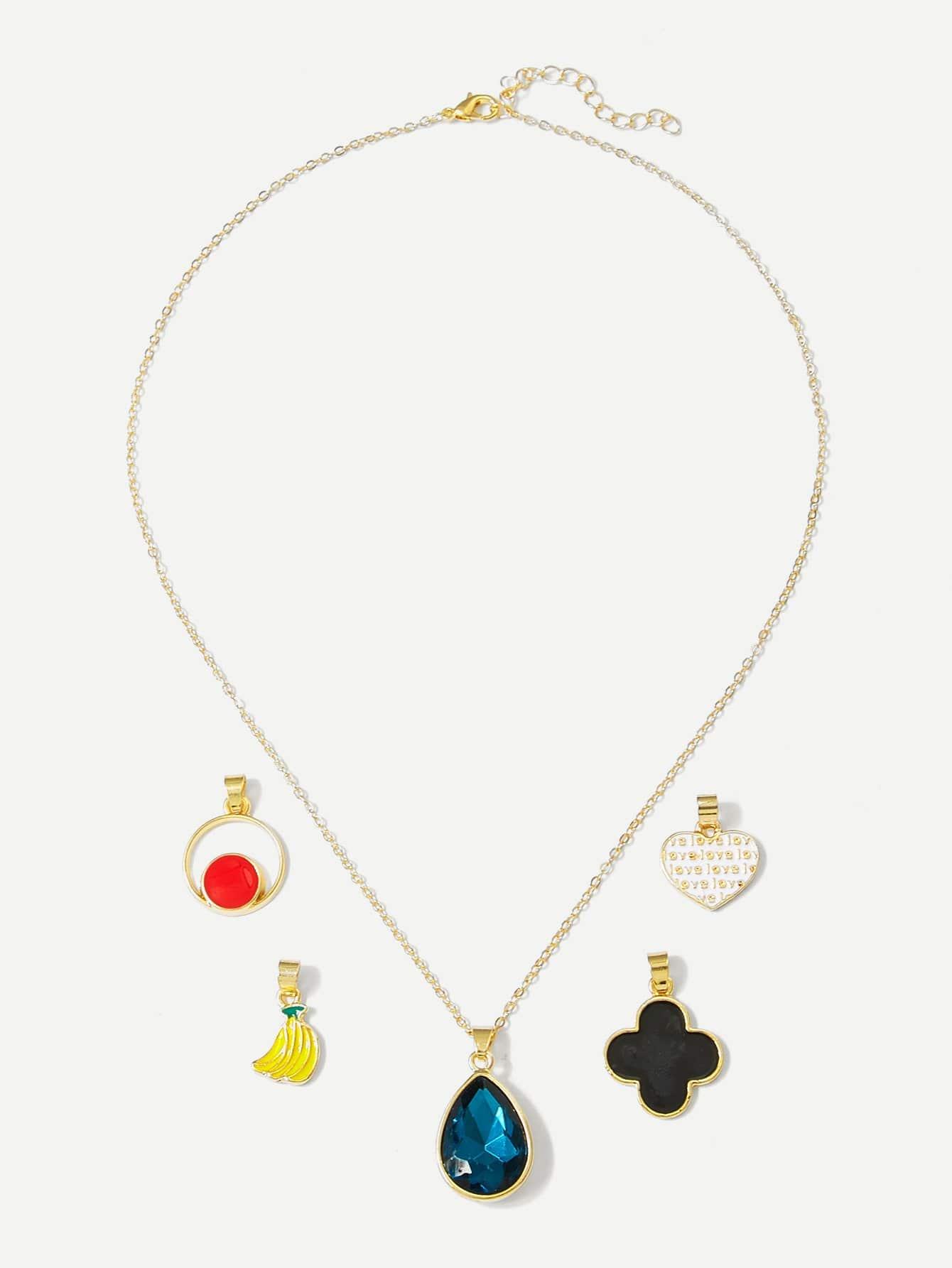 Abnehmbare Halskette mit Banane und Edelstein 5pcs