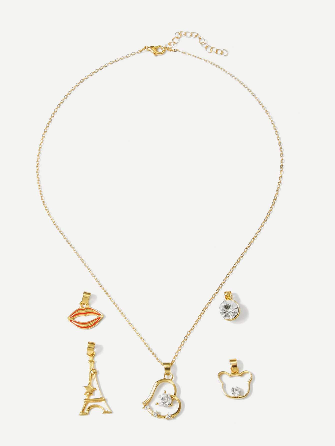 Abnehmbare Halskette mit Lippe und Bär 5pcs