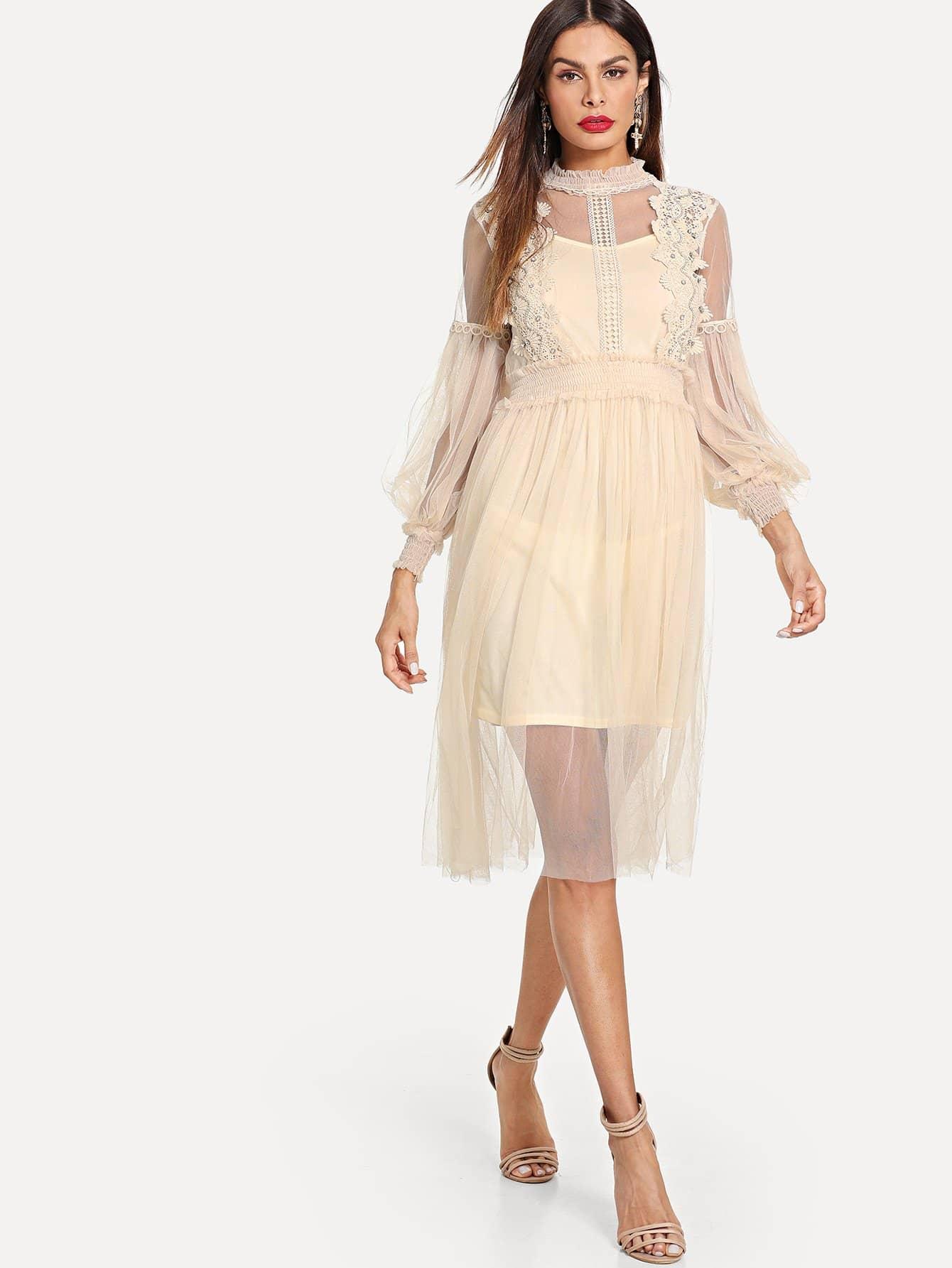 Купить Кружевное трикотажное платье со симметрическими сетчатыми и платье на бретелях, Andy, SheIn