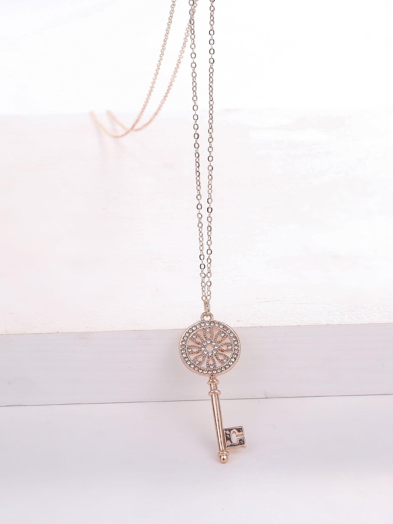 Strass Schlüsselanhänger Gold überzogene Halskette