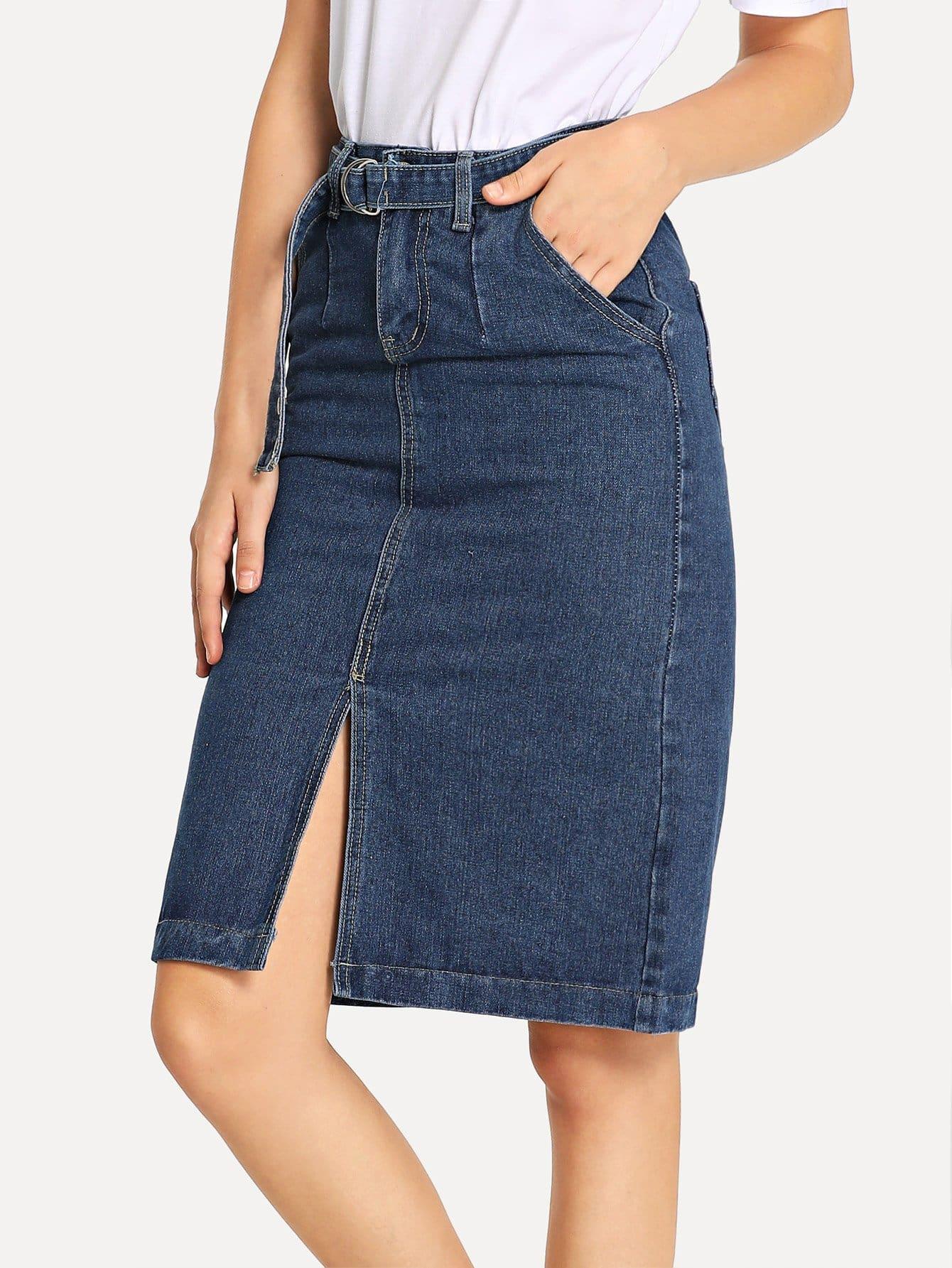 Купить Простая джинсовая юбка и с поясом и с вырезом перед, Teresa, SheIn