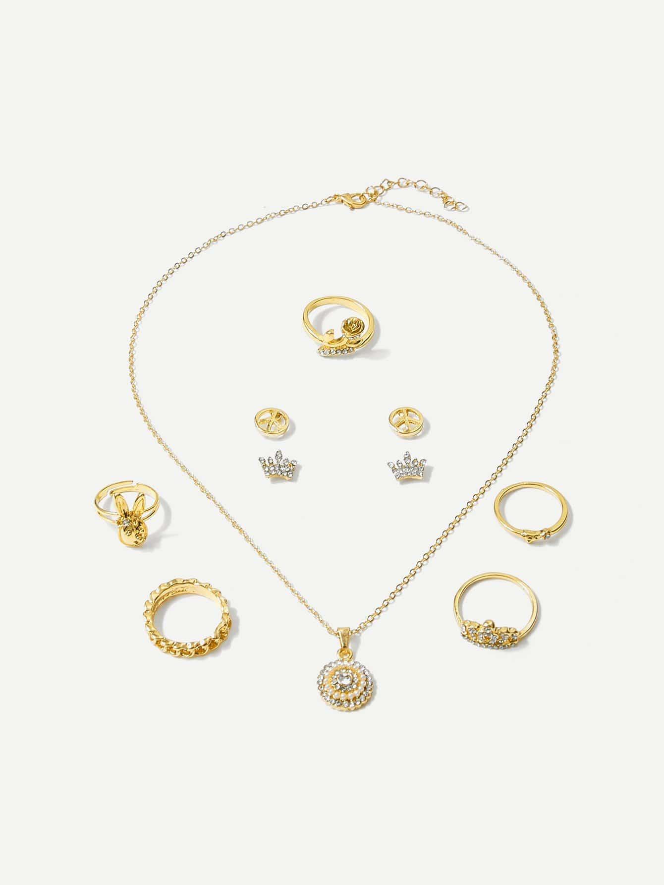 Halskette 1pcs mit Ohrringe 2 Paare und Ring 5pcs