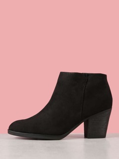 Almond Toe Faux Suede Chunky Heel Bootie