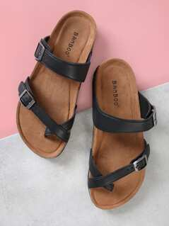 Cork Footbed Double Strap Thong Sandals