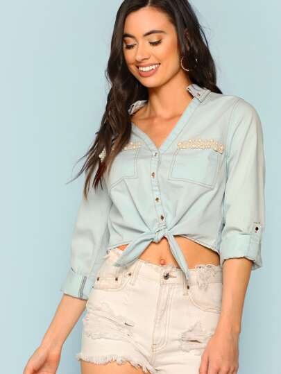 Pearl Embellished Button Front Top