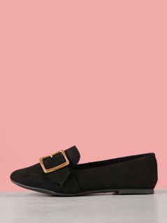 Faux Suede Buckle Band Loafer