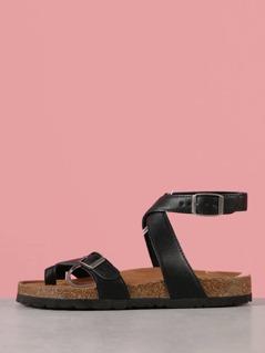 Ankle Strap Toe Ring Cork Footbed Sandal