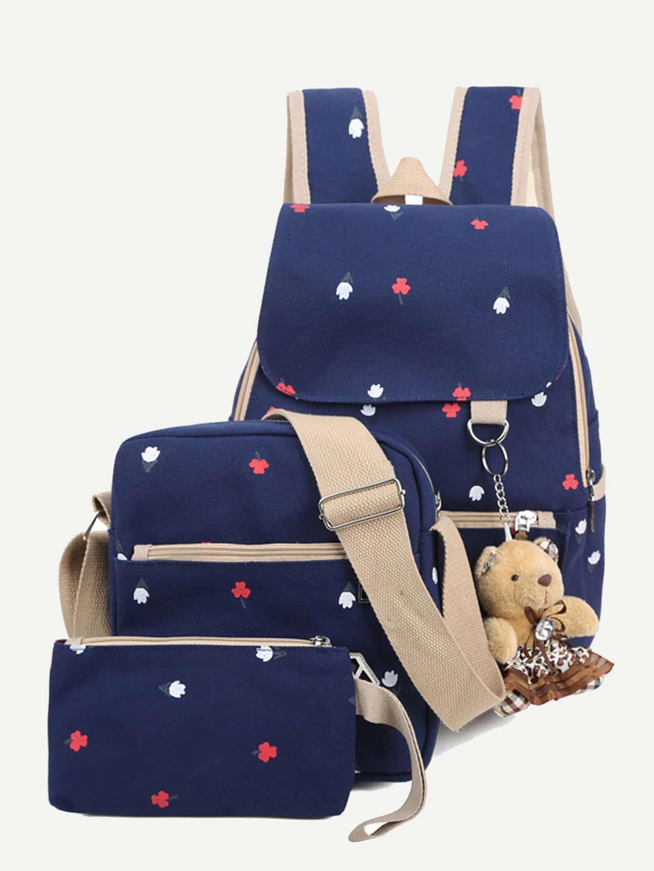 Купить Рюкзак с рисунком медведя и Clutch 3шт, null, SheIn