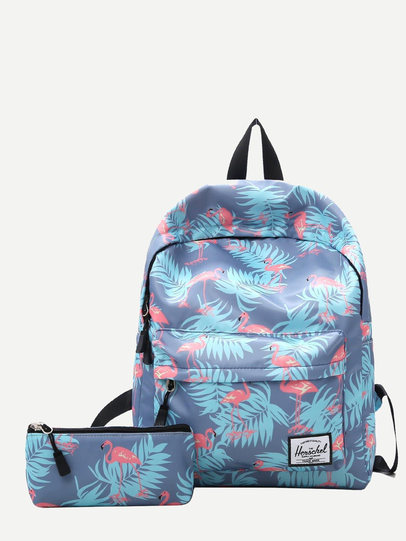 Рюкзак с рисунками фламинг и Clutch сумка