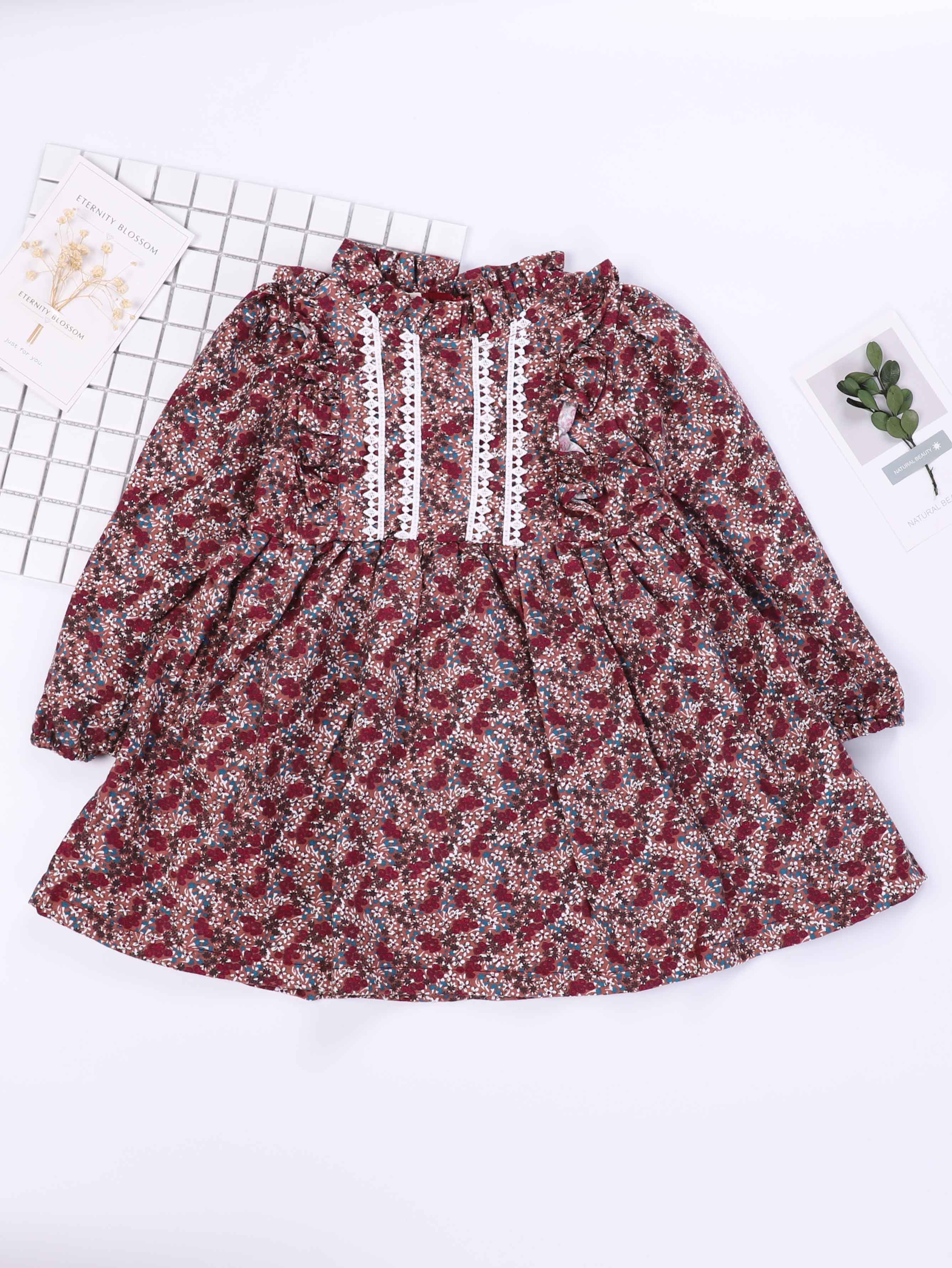 Купить Платье с рисунками общих листьев и с украшением вышивки для девочки, null, SheIn