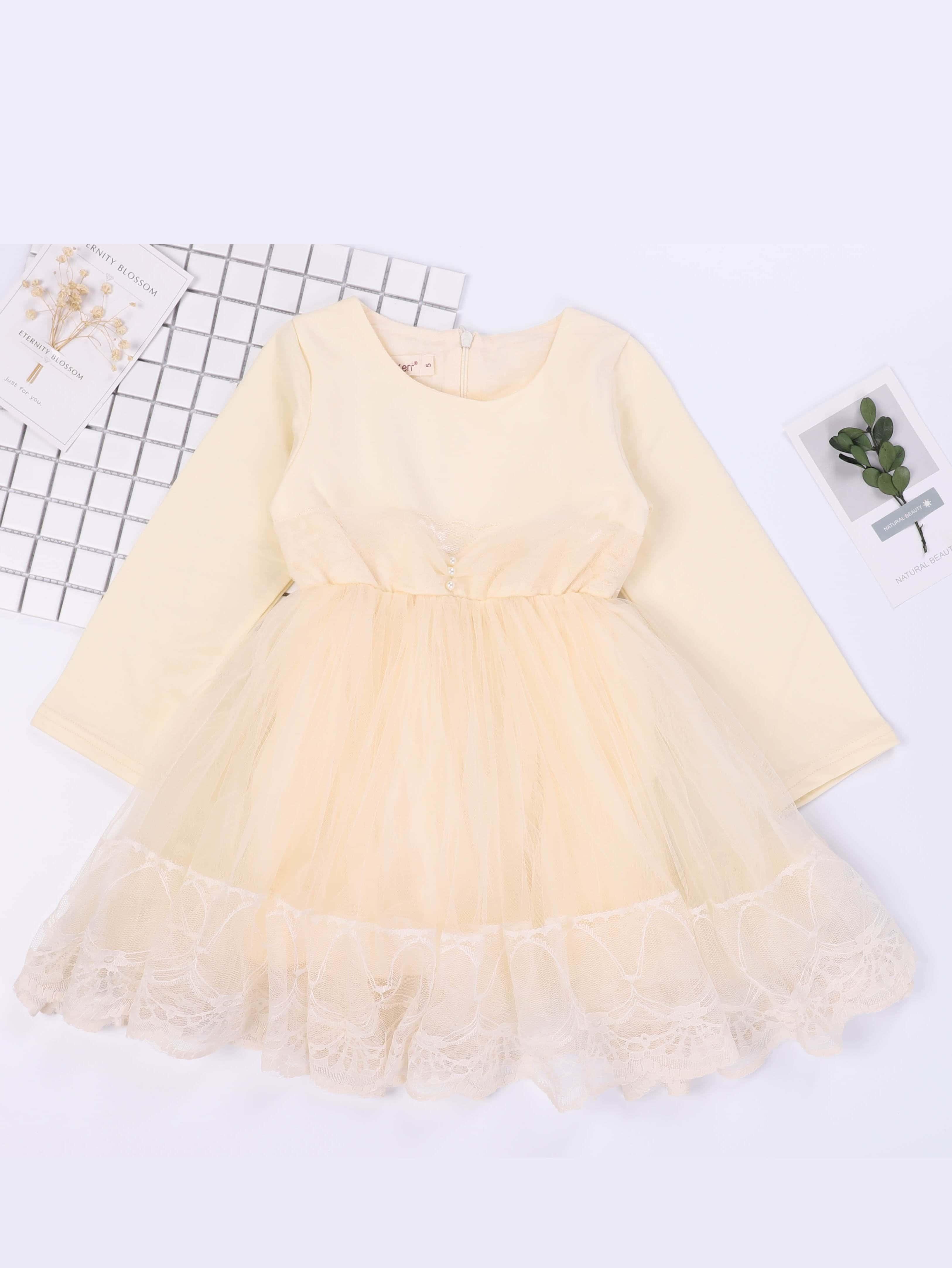 Купить Общое кружевное платье и с украшением жемчугов для девочки, null, SheIn