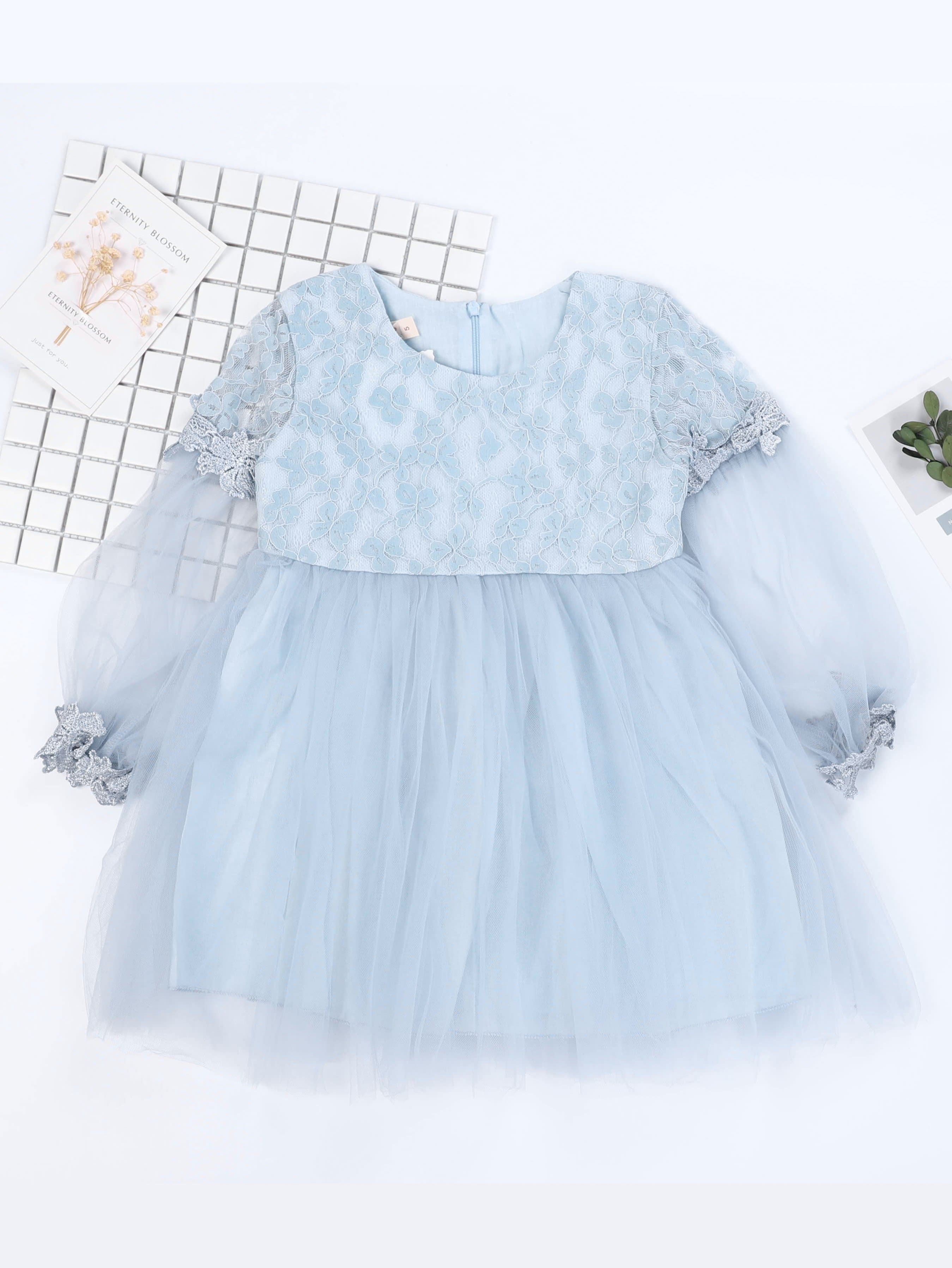 Girls Lace Overlay Knot Back Dress