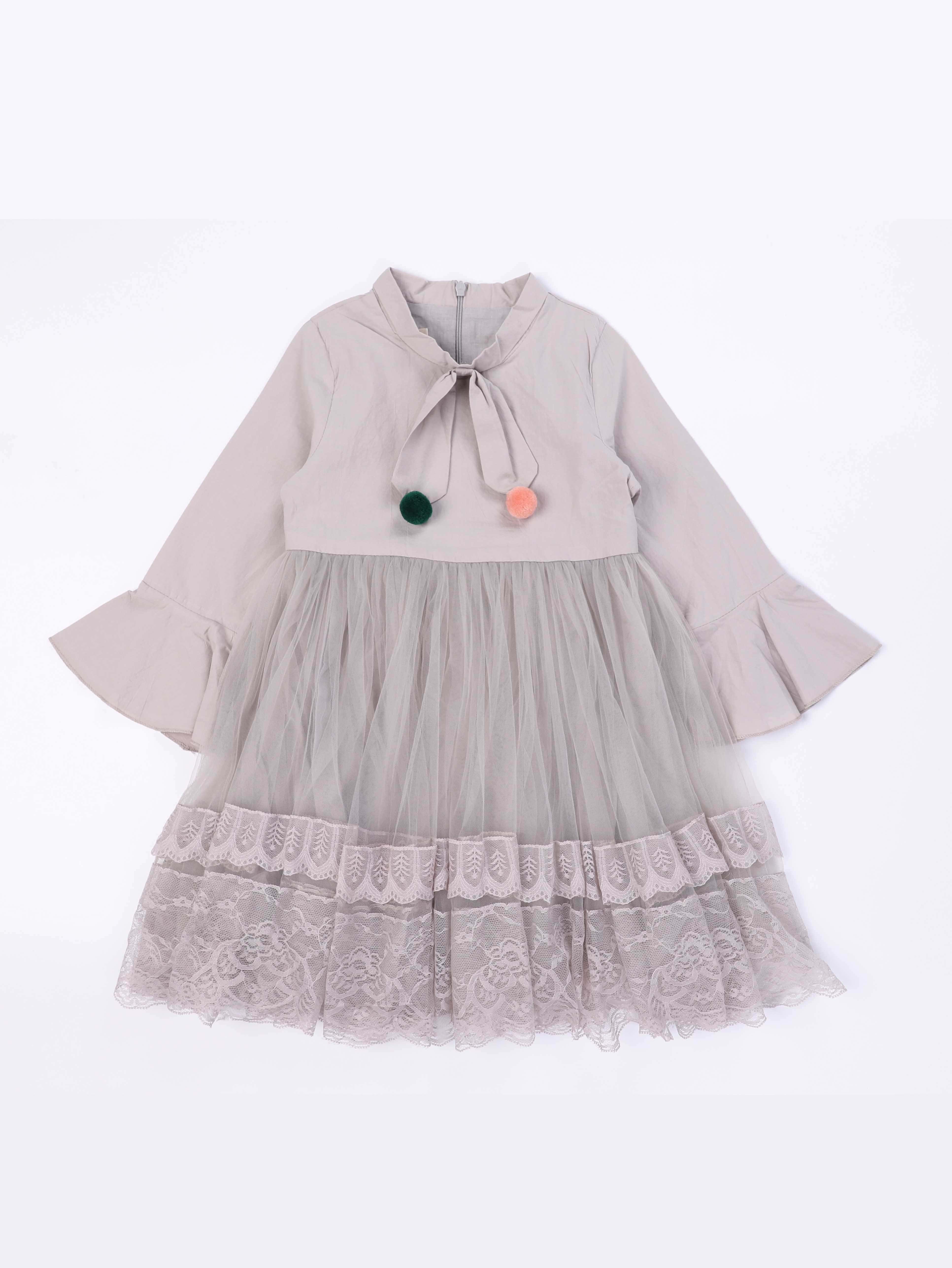 Купить Pom Pom Платье с поясом и рукава с розеткой для девочки, null, SheIn
