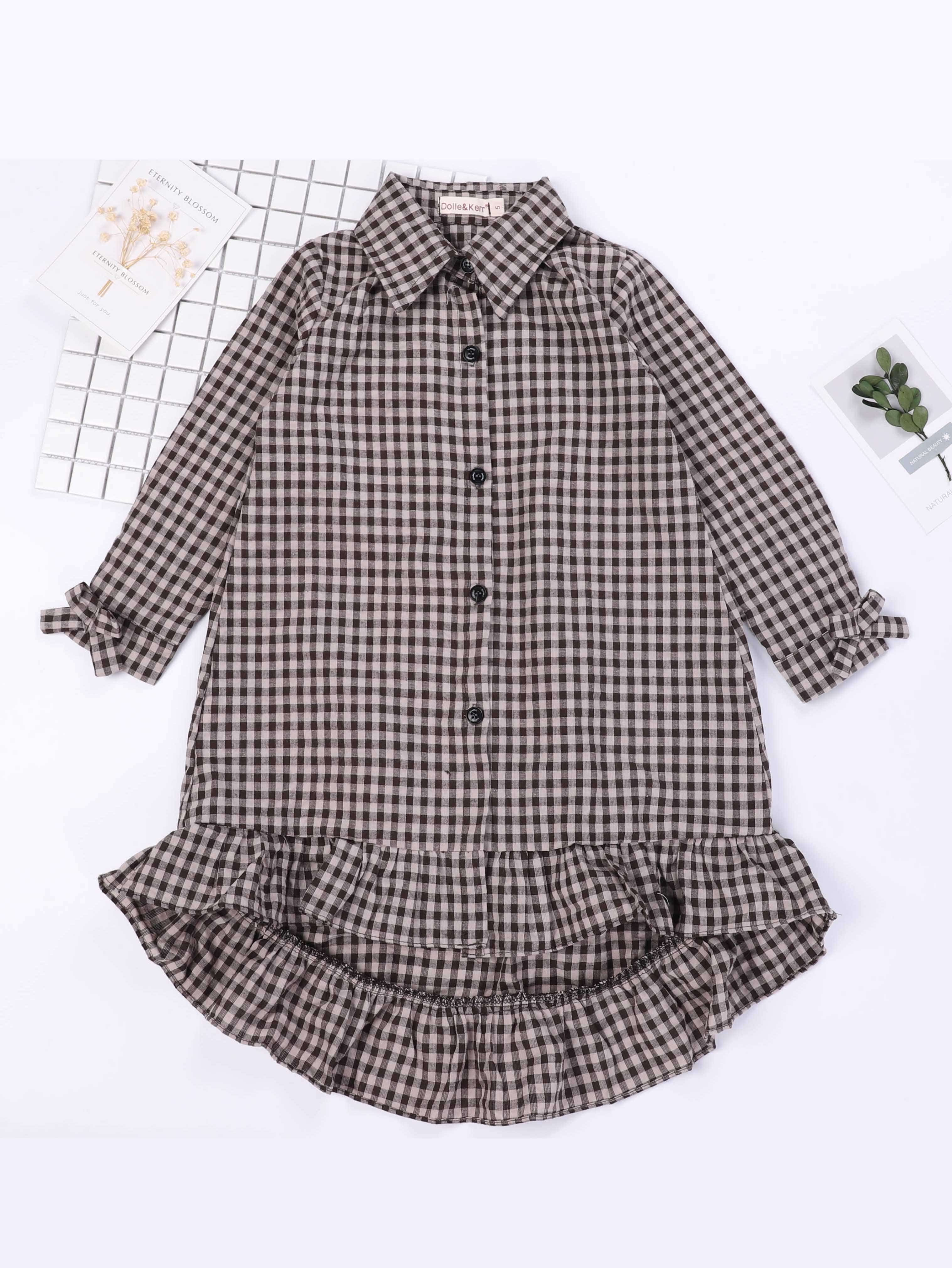Girls Ruffle Hem Bow Detail Gingham Dress