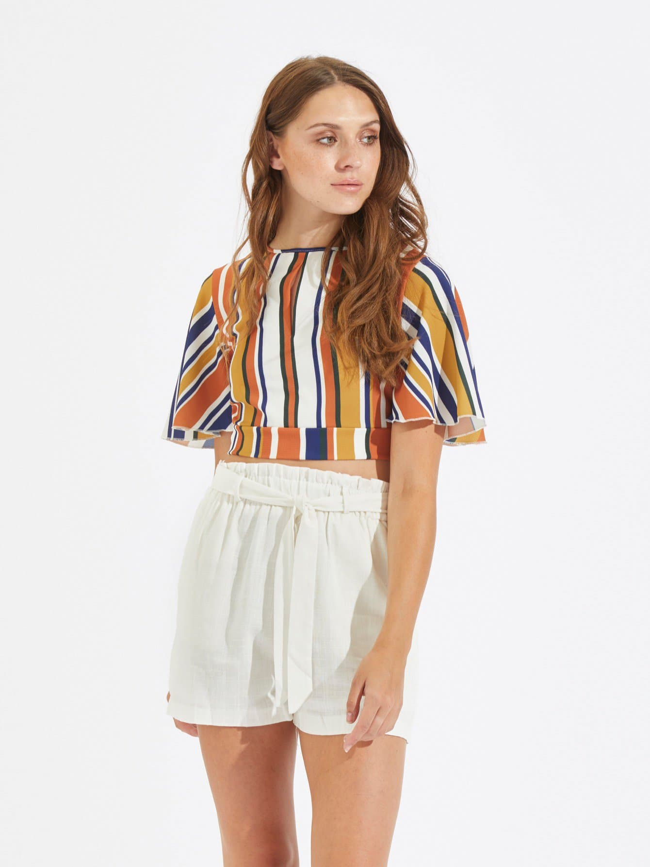 Купить Твердые брюки со складкой отделкой с поясом, Leona F, SheIn