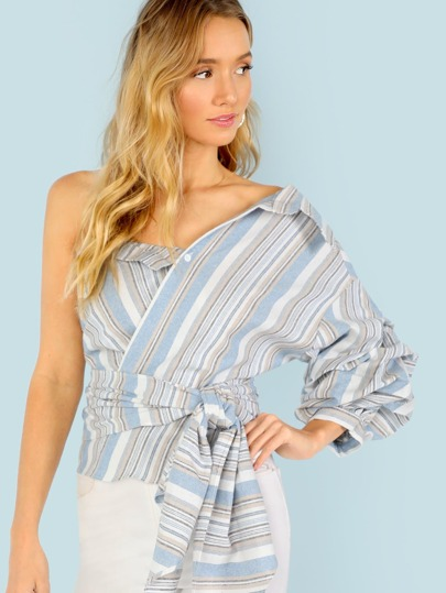 One Shoulder Gathered Sleeve Striped Blouse