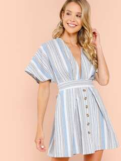 Plunge Neck Tied Open Back Striped Dress