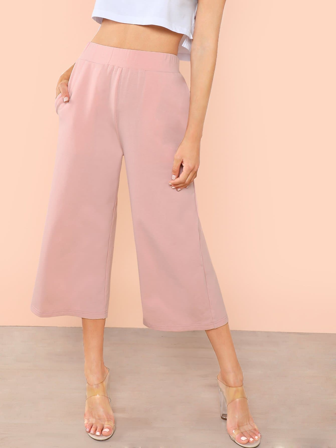 Elastic Waist Wide Leg Pants elastic ruched waist wide leg pants