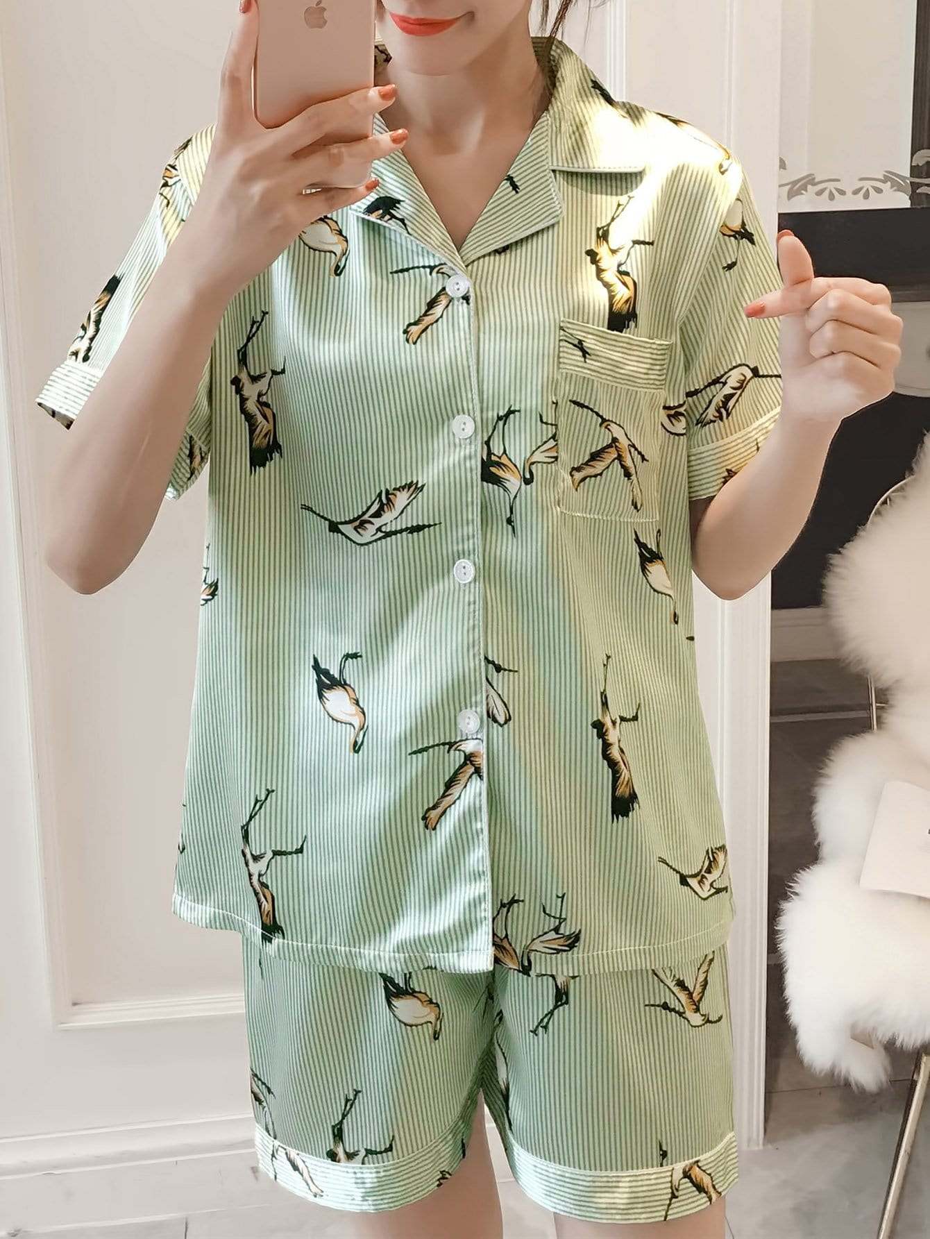 Bird Print Button Up Striped Pajama Set