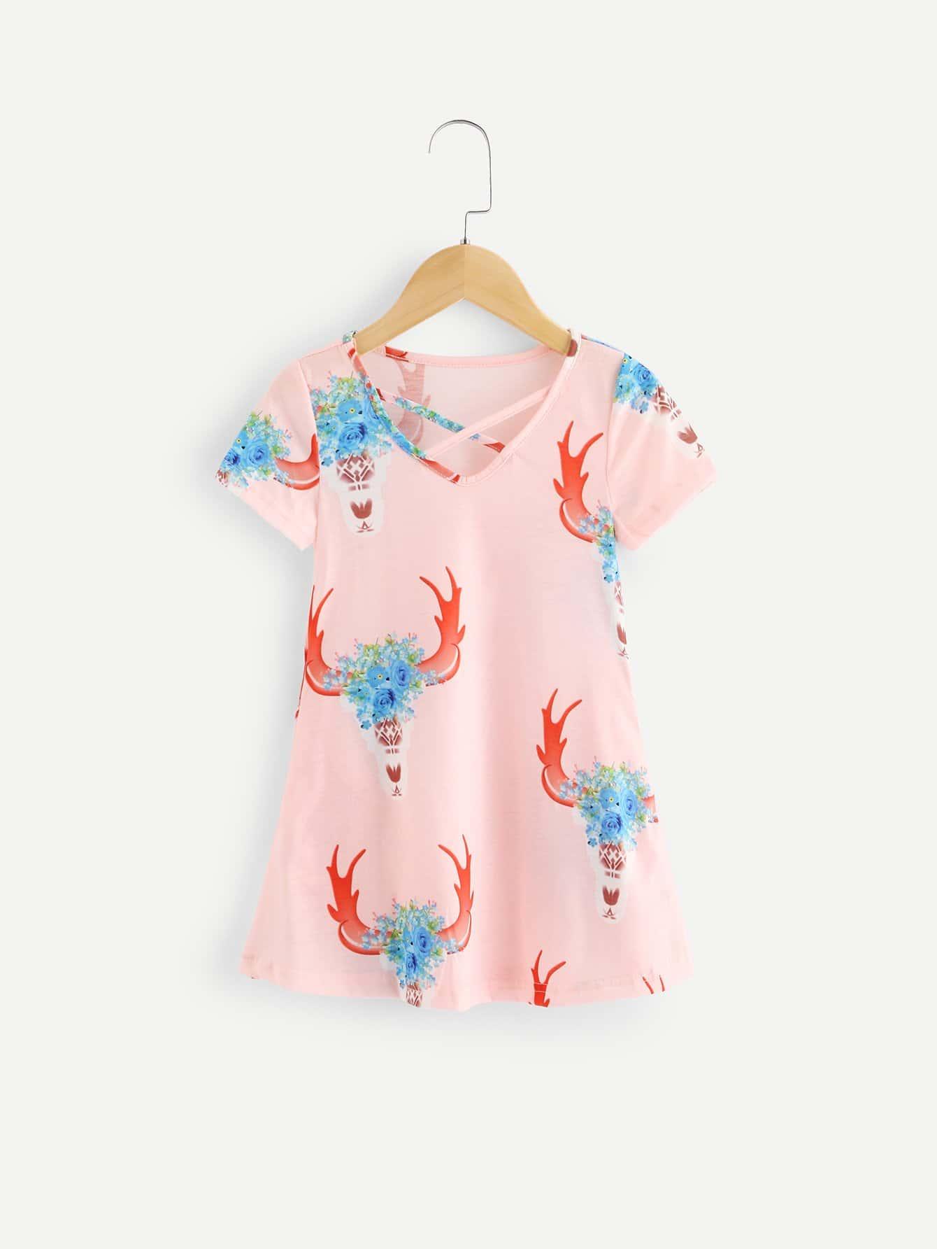 Купить Платье с рисунком оленя и с лентами пересечения перед одежды для девоч, null, SheIn