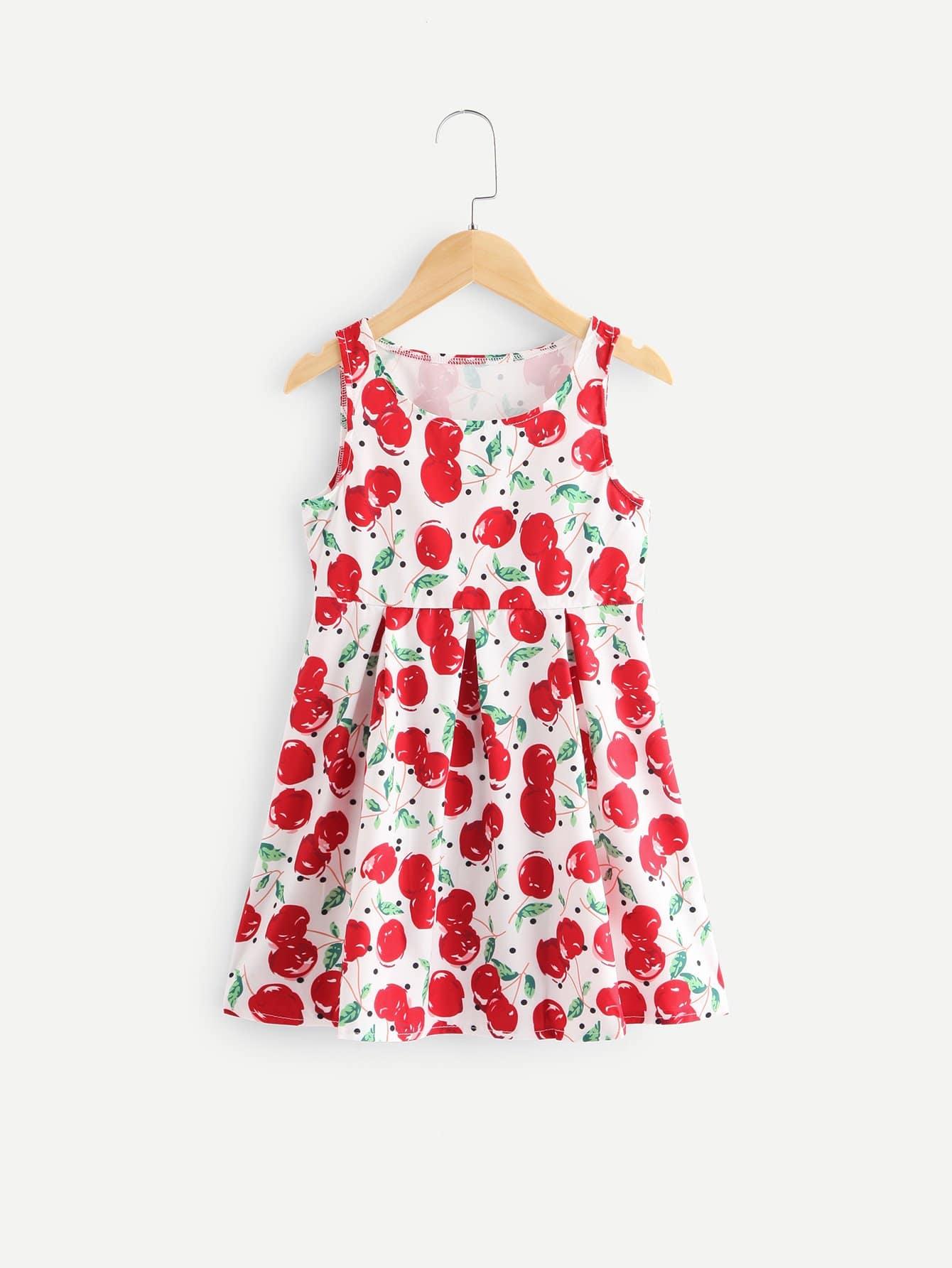 Girls Allover Cherry Print Vest Dress