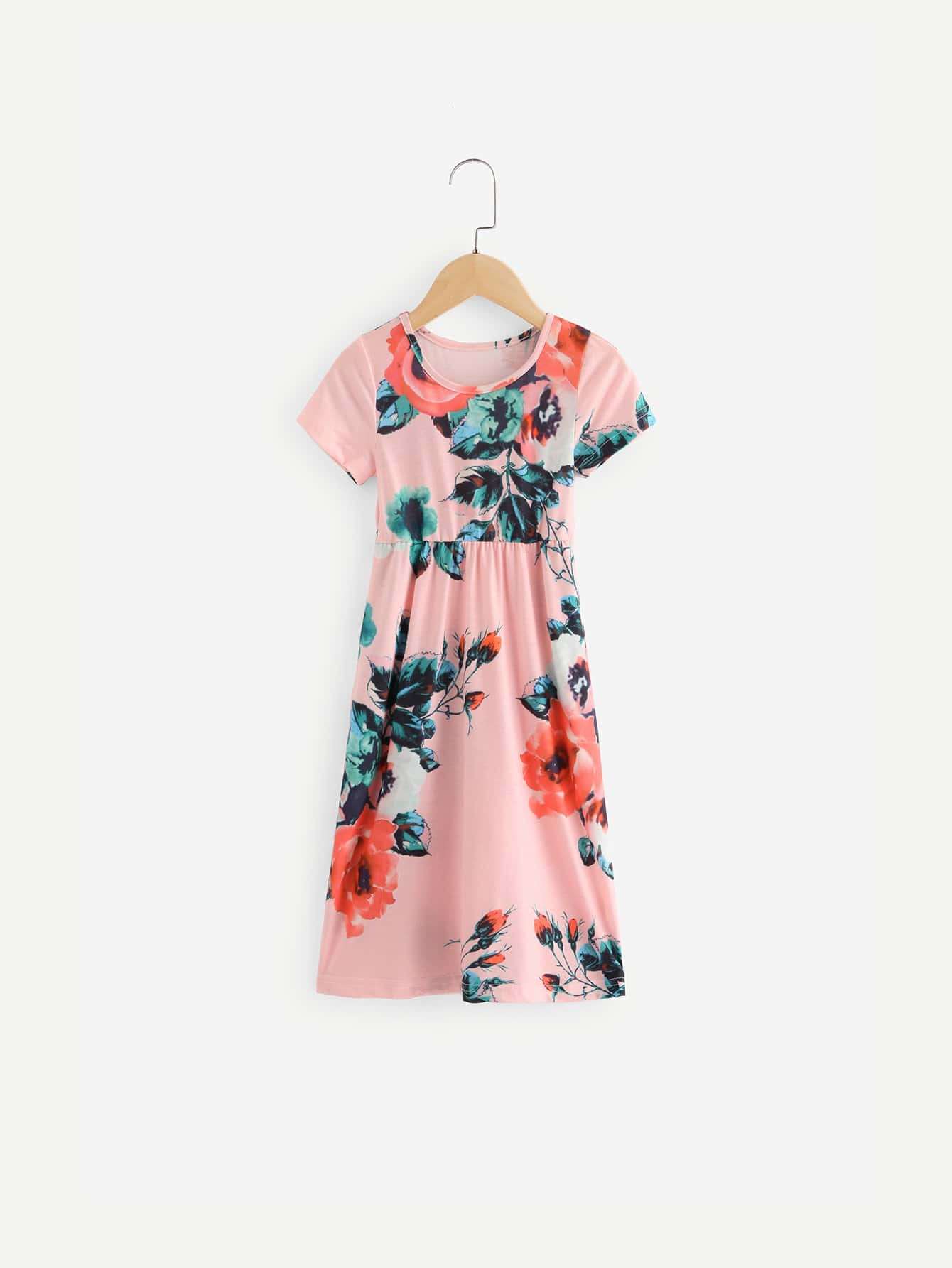 Girls Allover Floral Print Dress