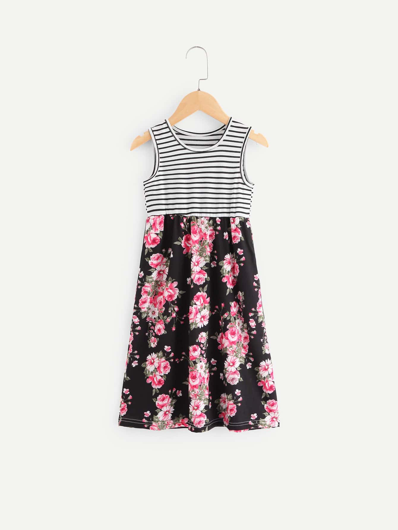 Girls Allover Floral Print Striped Sleeveless Dress