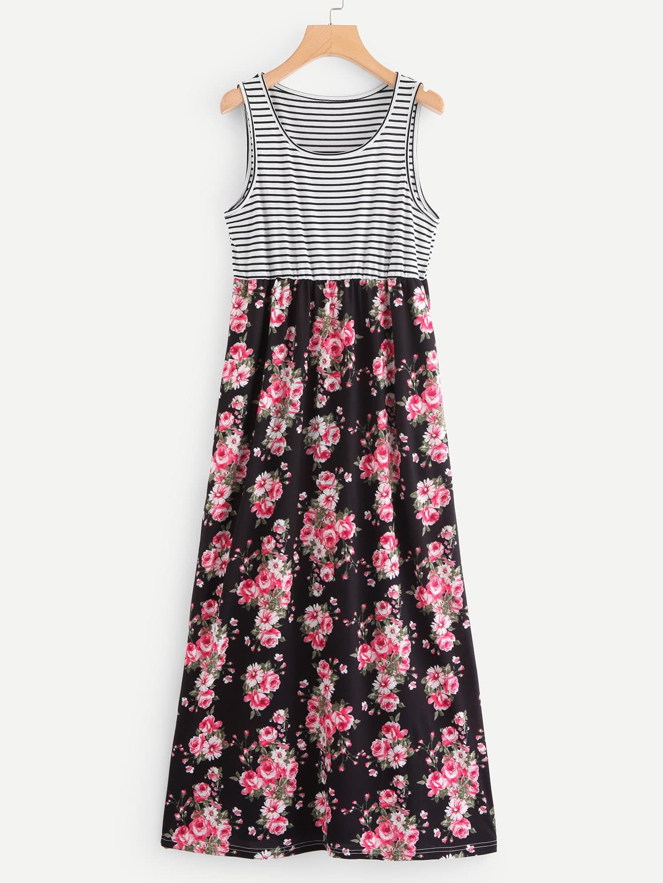 Allover Floral Print Striped Sleeveless Dress