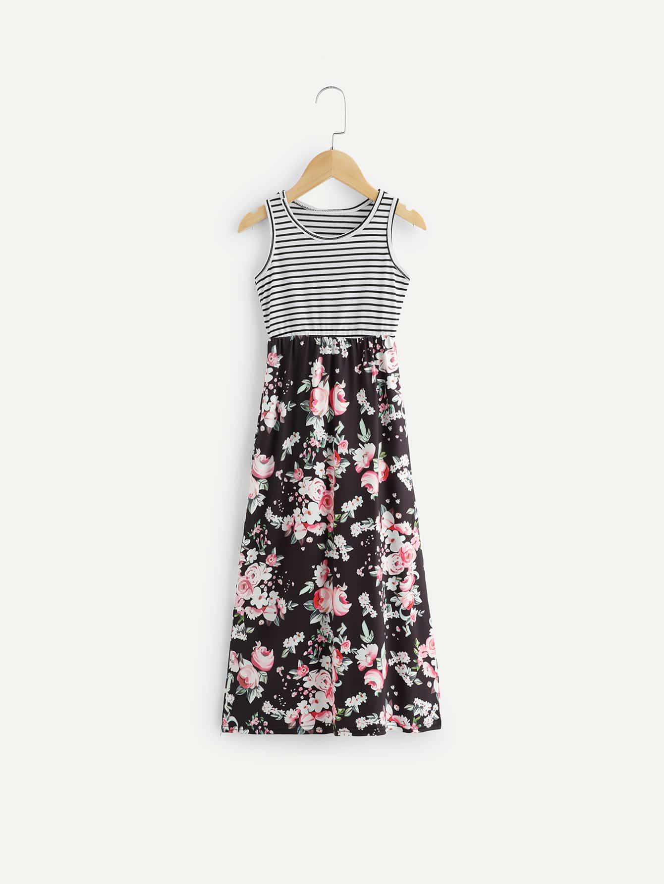 Girls Contrast Striped Floral Print Sleeveless Dress