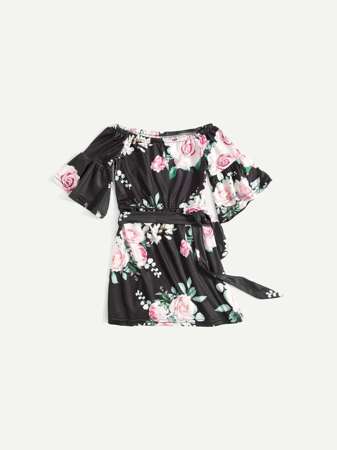 Купить Ситцевое платье и рукава с розеткой для девочки, null, SheIn