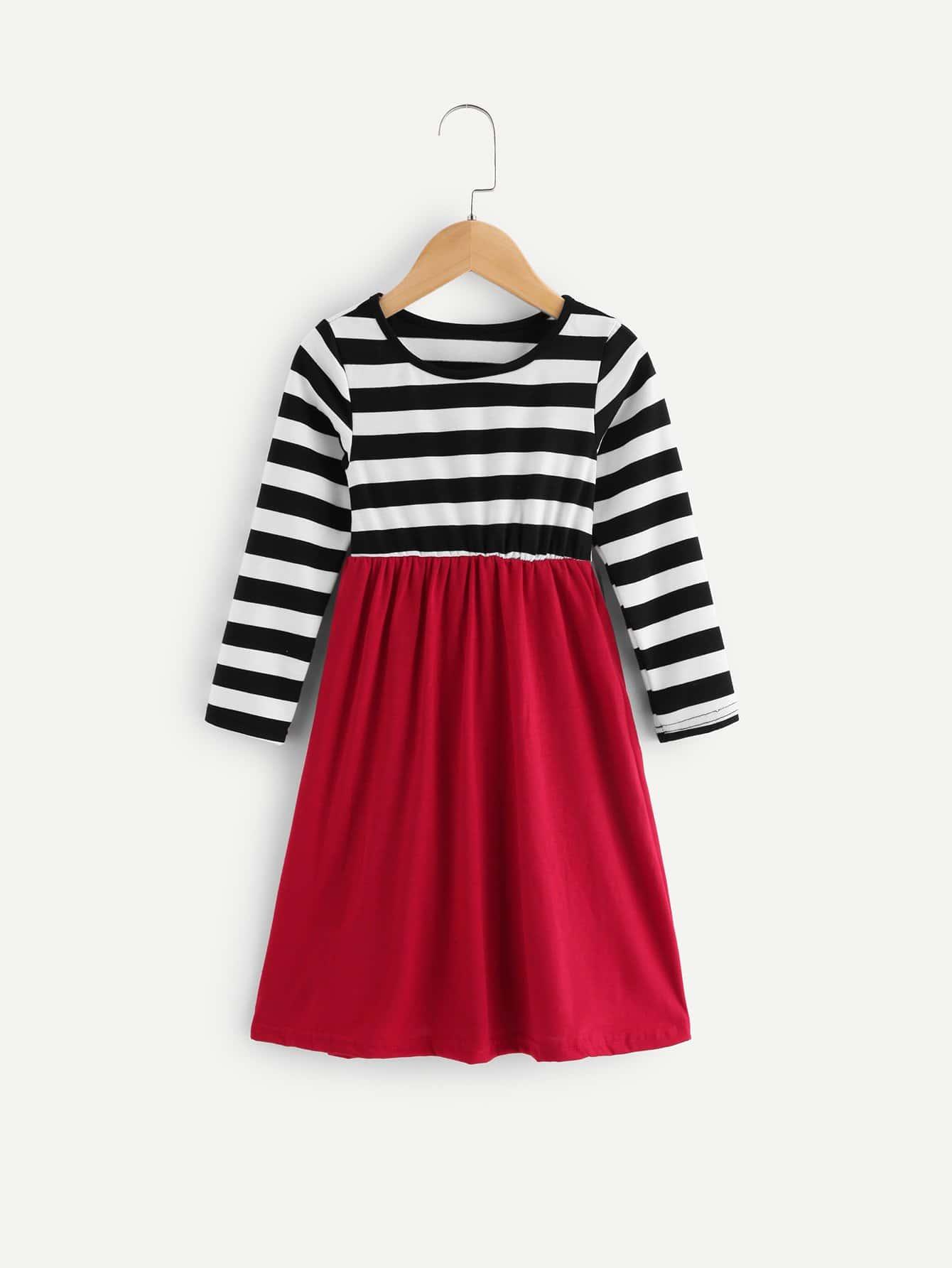 Girls Contrast Striped Long Sleeve Dress