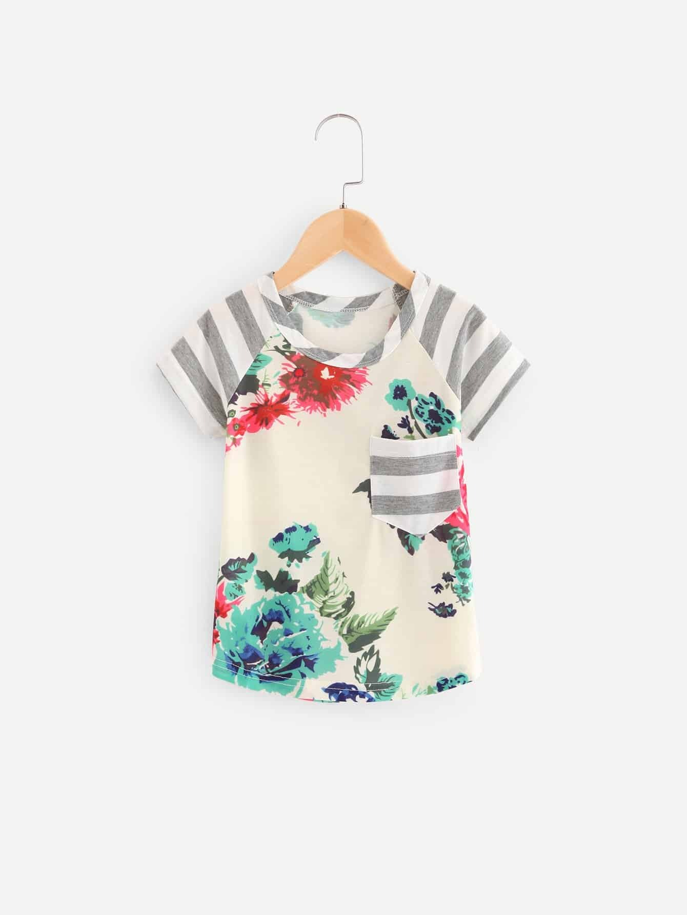 Girls Floral Print Contrast Striped Tee