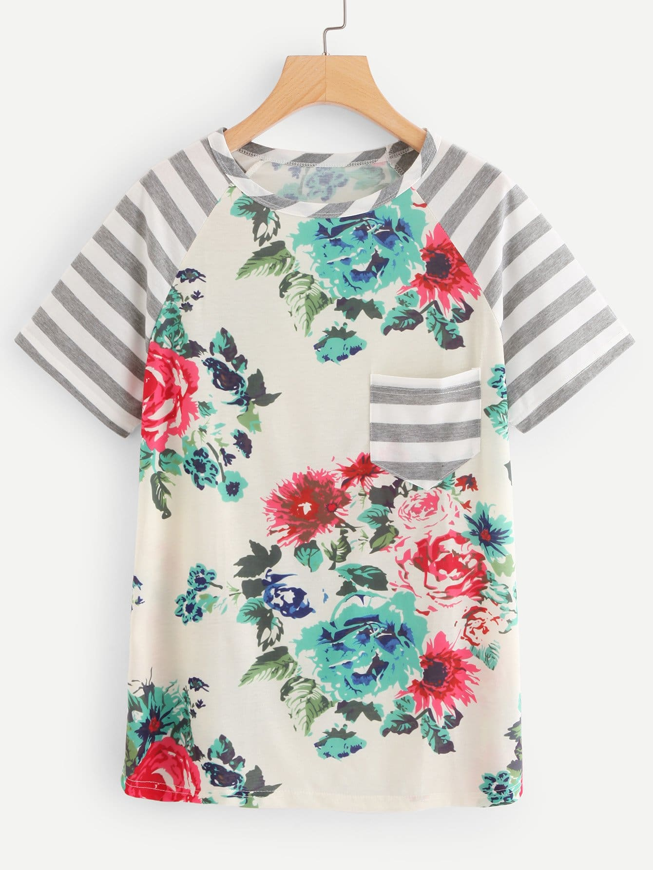 Floral Print Contrast Striped Tee