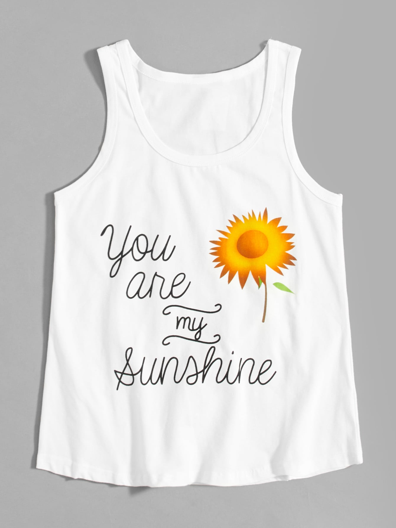 Letter And Sunflower Print Vest