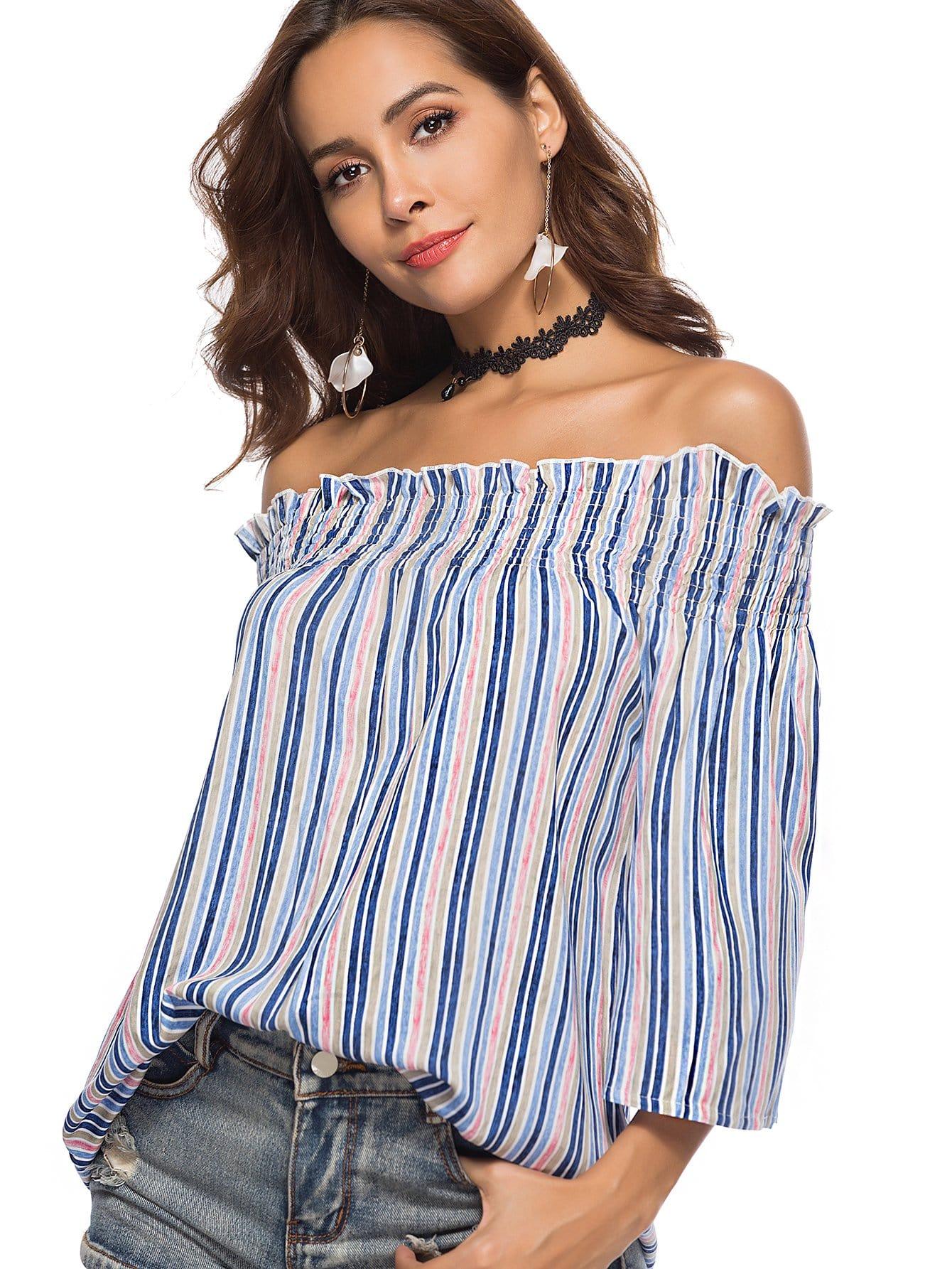 Off Shoulder Frill Trim Striped Blouse off shoulder frill trim striped top