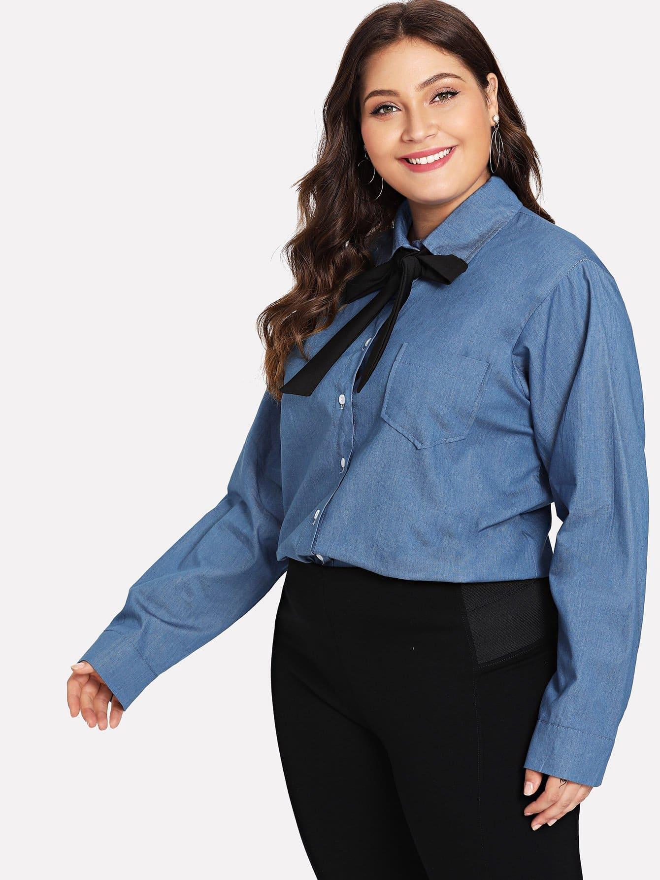 Купить Повседневный Одноцветный с карманами Синий Деним размера плюс, Carol, SheIn
