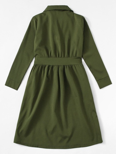 Romwe / Tie Waist Solid Shirt Dress