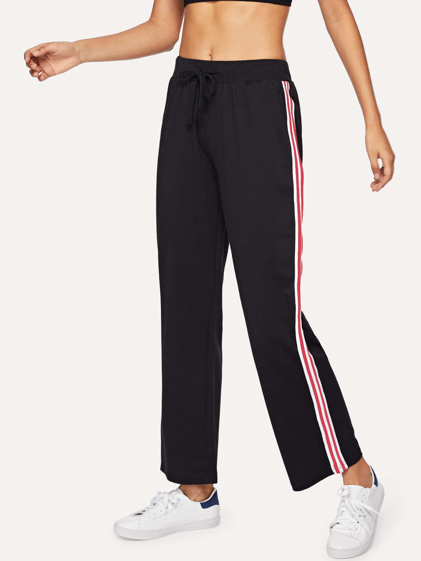 Drawstring Waist Striped Tape Side Pants