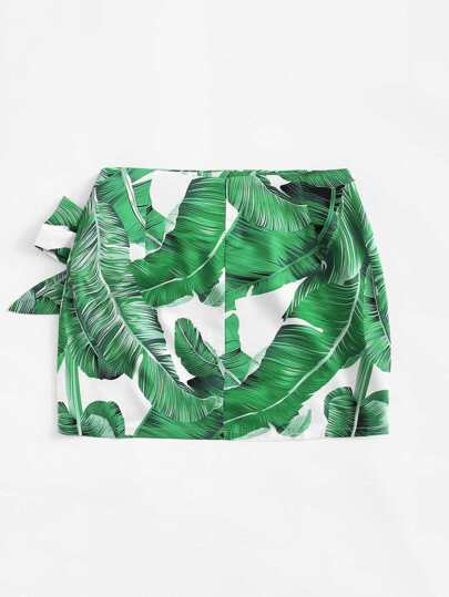 Romwe / Knot Side Leaf Print Skirt