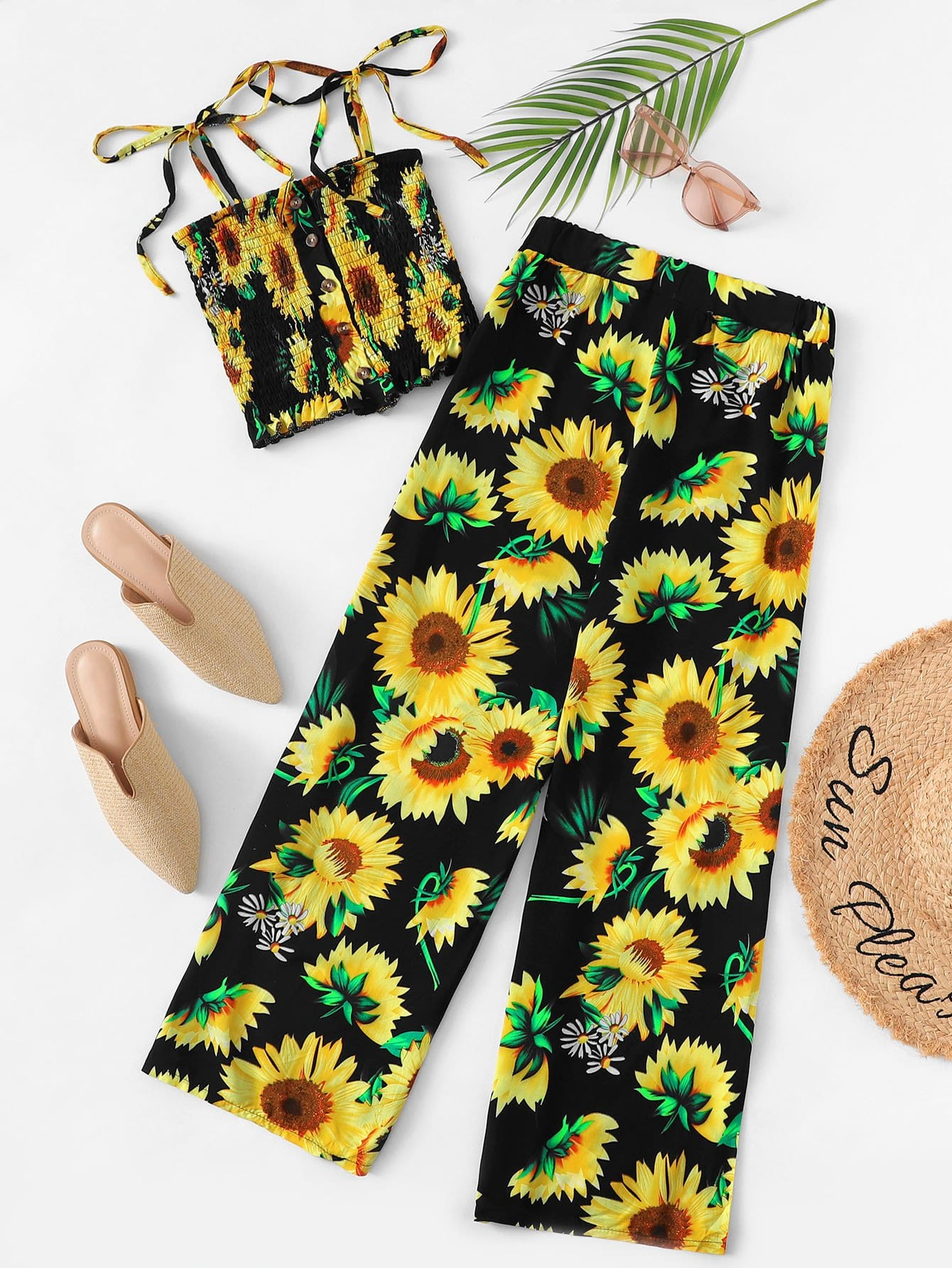 Tie Shoulder Sunflower Cami With Pants