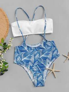 Jungle Leaf Print Bandeau Bikini Set