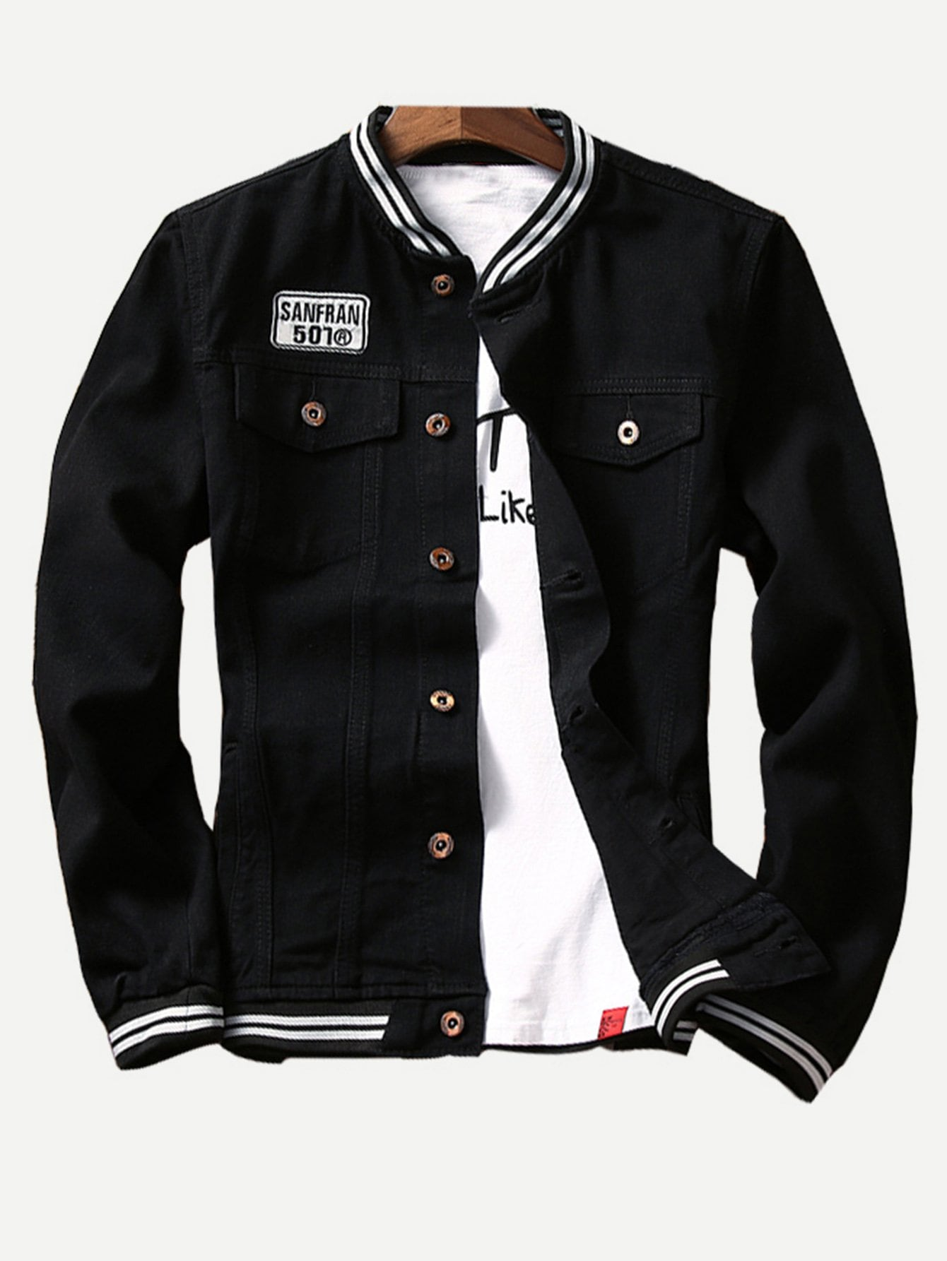 Мужчины Контрастность Полосатый Залатанная Куртка