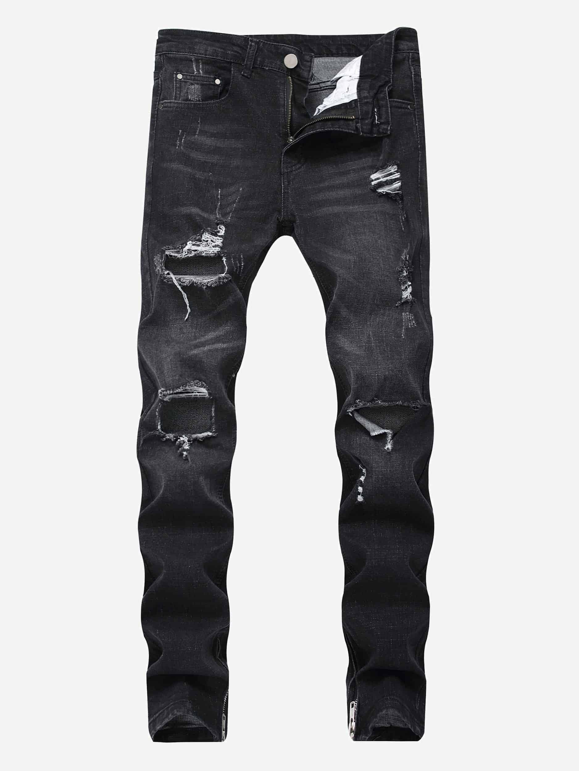 Купить Рваные джинсы и с застёжкой молния для мужчины, null, SheIn