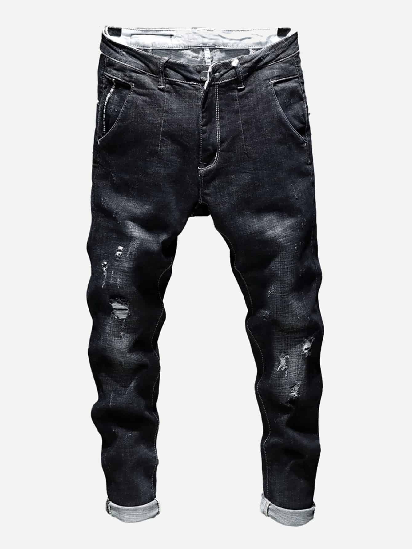 Купить Рваные простые джинсы для мужчины, null, SheIn
