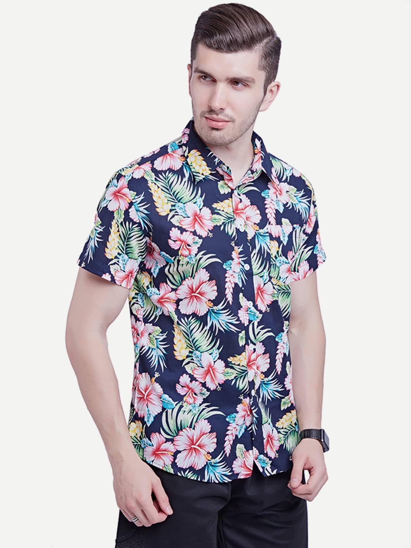 Men Floral Print Collar Shirt майка print bar highway bandits